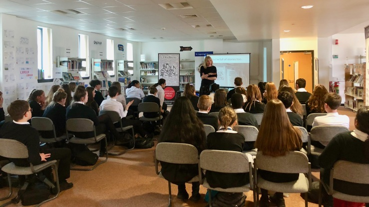 Author L.J. MacWhirter speaking to Edinburgh school St Augustin's High School