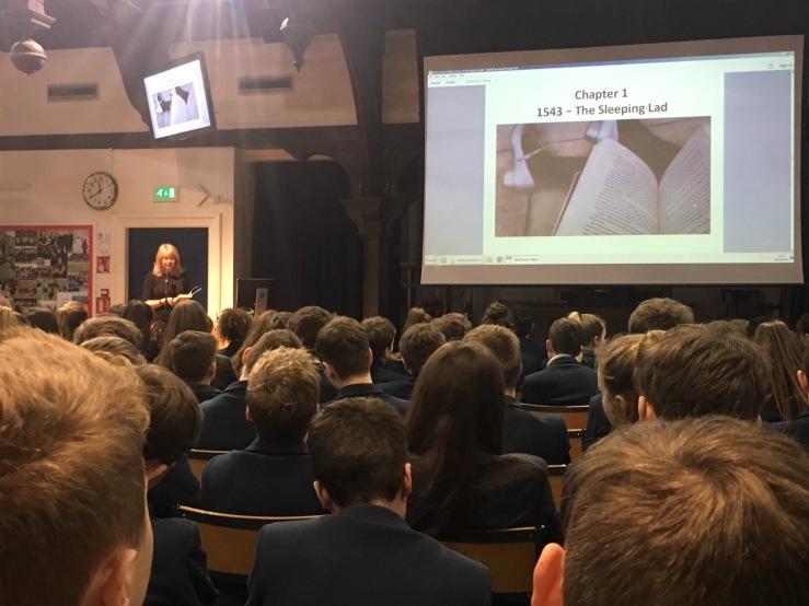 Author L.J. MacWhirter speaking to George Heriot's School