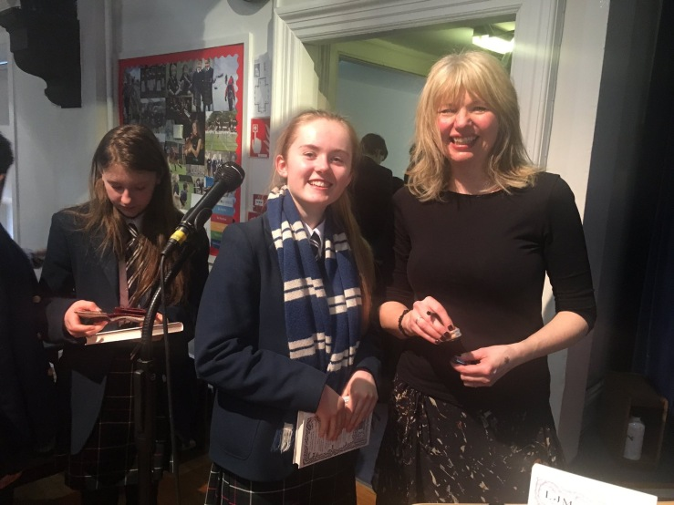 Author L.J. MacWhirter with a pupil at George Heriot's School